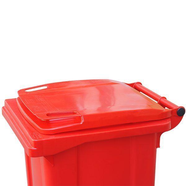tomberon cu roti pentru gunoi reciclare selectiva pubela rosie 120l 3