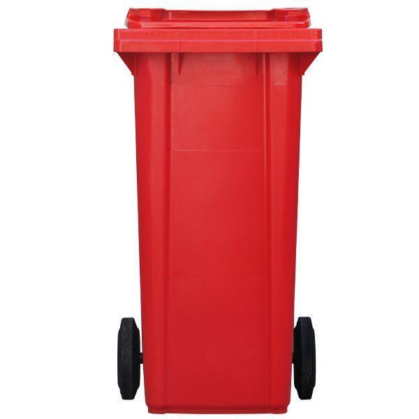 tomberon cu roti pentru gunoi reciclare selectiva pubela rosie 120l