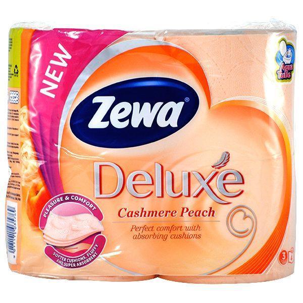 Pachet 10 seturi - Zewa Deluxe, Pleasure & Comfort, Cashmere peach, Hartie igienica, 3 Straturi, Tub dizolvabil, 10x 4 Role