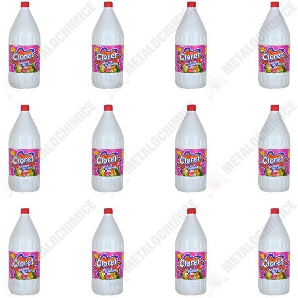 Pachet 12 bucati - Cloret 2L inalbitor parfumat universal, Clor pentru dezinfectat, 12 x 2000ml