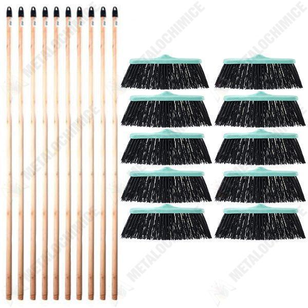 pachet 10 10 10 x perie 27cm turcoaz atasabila pentru casa si curte 10 x coada din lemn cu filet pentru matura si mop 120cm