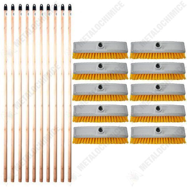 Pachet (10 + 10) - 10 x Perie de covor cu filet, Gri, Matura pentru covoare, 22.6cm + 10 x Coada din lemn cu filet, Pentru matura si mop, 120cm