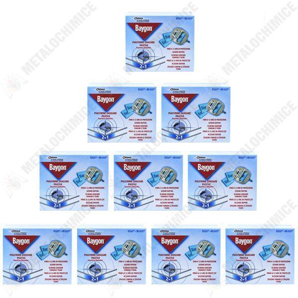 Pachet 10 bucati - Aparat cu pastile pentru tantari Baygon, 10 x 10 pastile + aparat