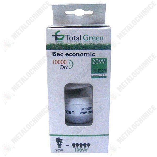 Pachet 10 bucati - Bec spirala, Total Green, 10000 Ore, lumina calda, Fasung E27, 20W