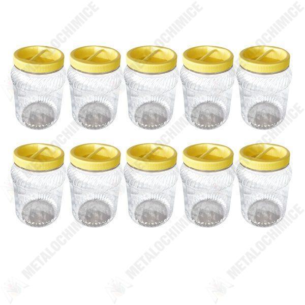 Pachet 10 bucati - Borcan 1L din plastic alimentar, Pet cu capac prin infiletare, 10 x 1L