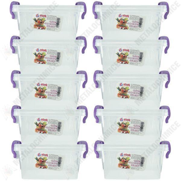 pachet 10 bucati cutie depozitare alimente cu capac plastic alimentar 14l x 97l x 8 5in cm 10x1l