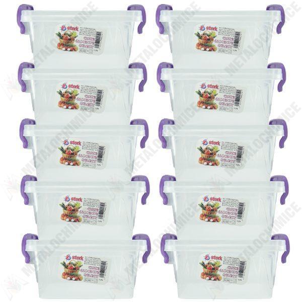 pachet 10 bucati cutie depozitare alimente cu capac plastic alimentar 16l x 11l x 98 cmin 10x15l