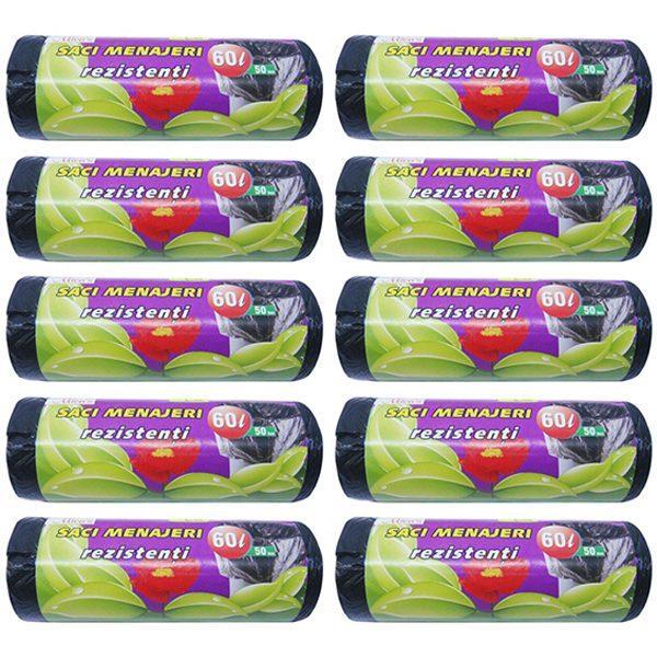 Pachet 10 bucati - Saci menajeri 60L pentru pubela, Sac plastic pentru menaj, gunoi, frunze, deseuri, 10 x 50buc