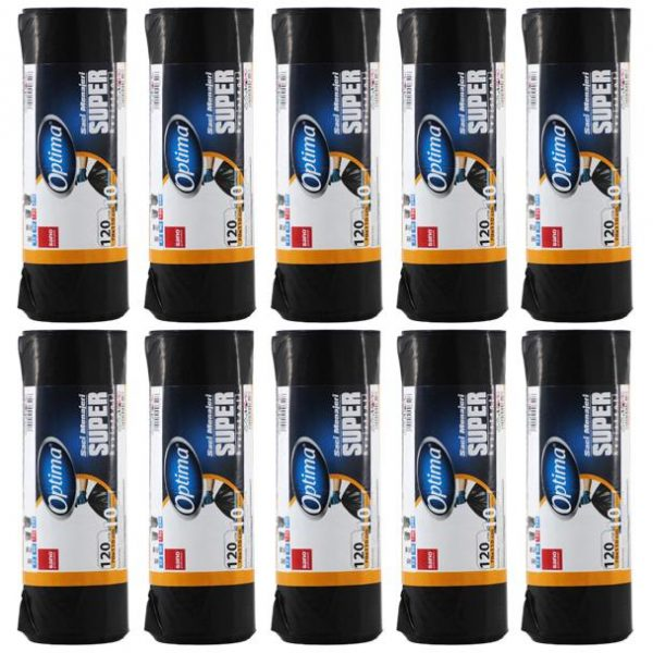 Pachet 10 bucati - Sano, Saci menajeri negri 120L pentru pubela, Sac plastic pentru menaj, gunoi, frunze, deseuri, 70x110cm, 10 x 10buc/rola