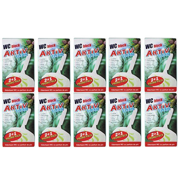 pachet 10 cutii aktiv clean odorizant wc block cu parfum de pin pentru agatat in vasul de toaleta 30buc 3x 30g cutie