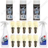 pachet 10 x bec pentru frigider 15w fasung e14 2 x sano solutie de curatat frigiderul 750ml 3 x vopsea spray den braven smalt pentru frigider 400ml