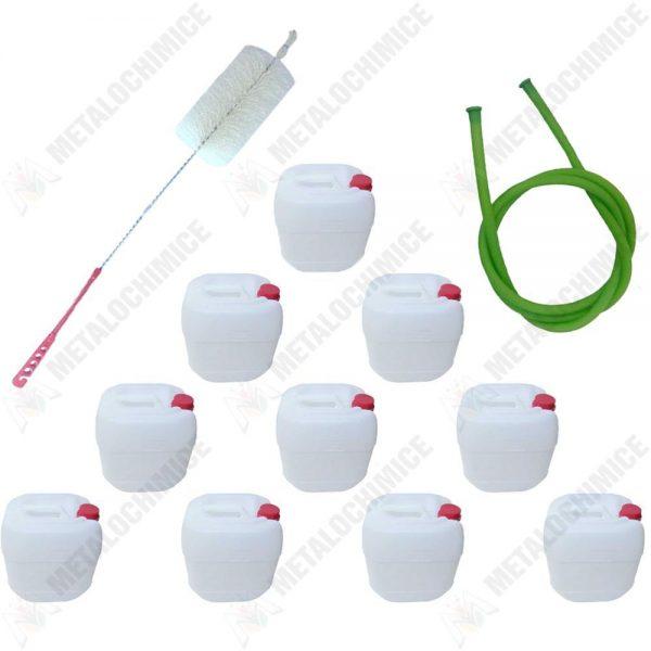 Pachet - 10 x Canistra 5L din plastic alimentar, Bidon cu maner si capac + Perie pentru spalat canistre + Furtun pentru tras vin 1.5m