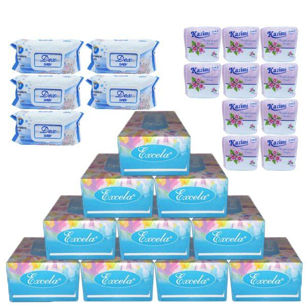Pachet - 10 x Servetele de masa, Excela, 150buc/cutie + 10 x Servetele de masa extrafine 100buc + 5 x Servetele umede, Dex Baby, Sensitive, 72buc
