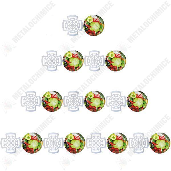 Pachet - 100 x Capac borcan 66 mm (Legume), Capace pentru borcane din sticla prin infiletare + 100 x Presa muraturi pentru borcane, compatibile cu borcanele de 300 g - 370 g