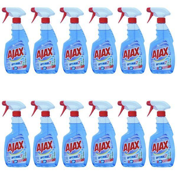 Pachet 12 bucati, - Ajax Multi Action, Optimal 7, Solutie pentru geamuri, Cu pulverizator, 12 x 500ml