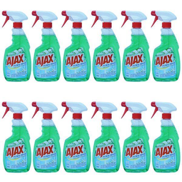 Pachet 12 bucati - Ajax Spring Flowers, Floral Fiesta, Solutie pentru geamuri cu pulverizator, 12 x 500ml
