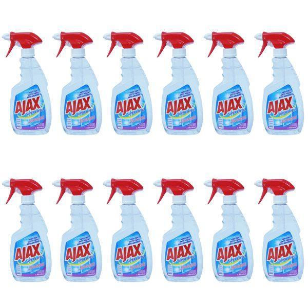 Pachet 12 bucati, - Ajax Super Effect + Alcohol, Optimal 7, Solutie pentru geamuri cu pulverizator, 12 x 500ml