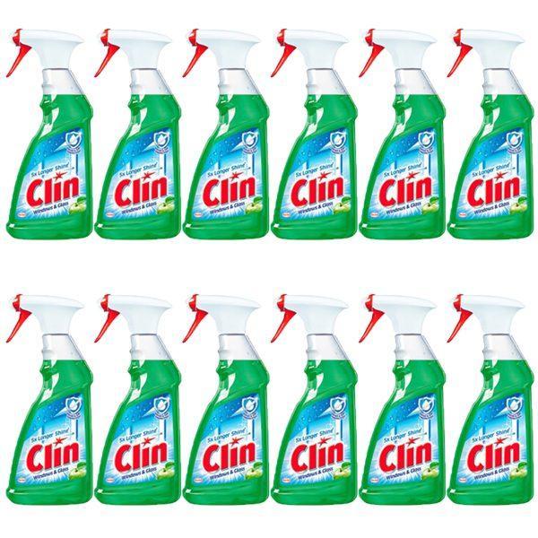 Pachet 12 bucati - Clin Apple, Solutie pentru curatat geamuri cu pulverizator, 12 x 500ml