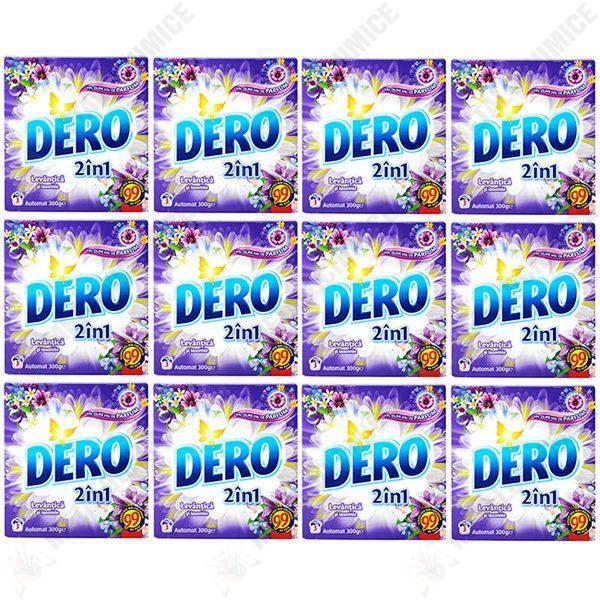 Pachet 12 bucati - Dero 2 in 1, Automat, Levantica si iasomie, Detergent de rufe la cutie, 3 spalari, 12 x 300g