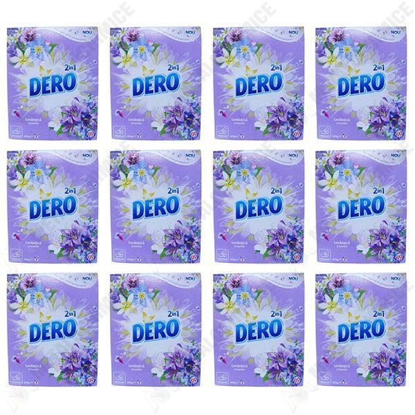 Pachet 12 bucati - Dero Ozon +, Manual, Levantica si iasomie, Detergent de rufe la cutie, 8 spalari, 12 x 400g