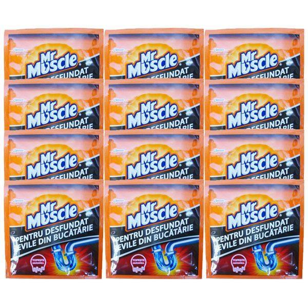 Pachet 12 bucati - Mr Muscle la plic, Granule pentru desfundat tevile, 12 x 50g