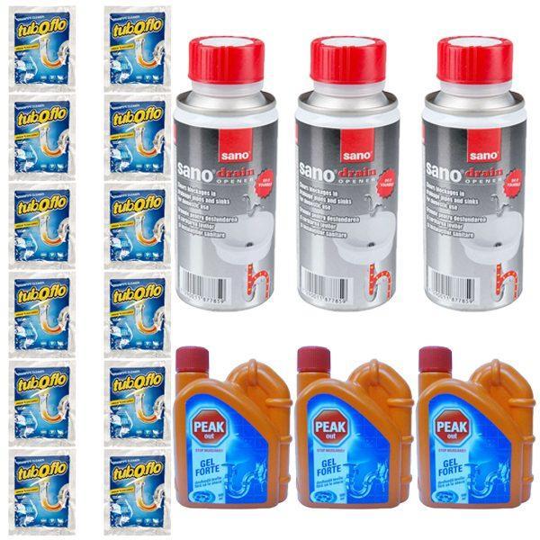 pachet 12 x granule pentru desfundat tevile apa rece 60g 3 x peak out pentru desfundat tevile 500ml 3 x granule pentru desfundarea tevilor sano drain 200g