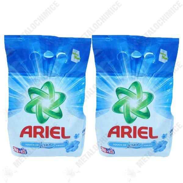 Pachet 2 bucati - Ariel Touch of Lenor Fresh, Detergent automat, Pudra cu parfum proaspat, 2 x 2kg