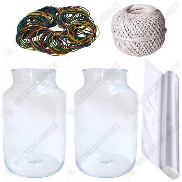 Pachet 2 bucati - Borcan 25 litri gura mare, Borcane din sticla + 2 bucati Celofan alimentar 45cm x 1m + Sfoara alba bumbac 100g + 140 bucati elastice