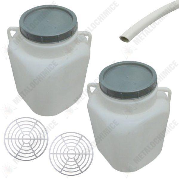 Pachet 2 bucati - Butoi 20L patrat din plastic alimentar, Bidon cu capac prin infiletare si manere + 2 x Presa rotunda pentru butoi 28cm + Teava pentru suflat / pitrocit