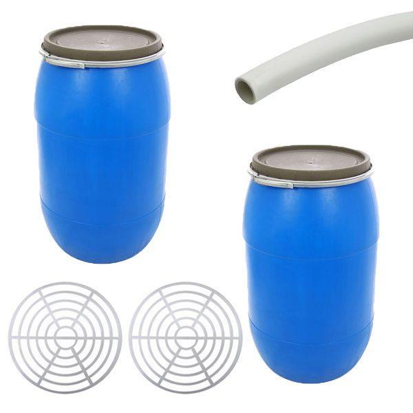 Pachet 2 bucati - Butoi 60L din plastic alimentar, Bidon cu capac si cerc metalic + 2 x Presa rotunda pentru butoi 45cm + Teava pentru suflat / pitrocit