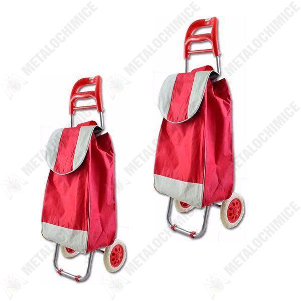 Pachet 2 bucati, Carut pentru piata cu 2 roti Rosu, Carucior cumparaturi cu sac