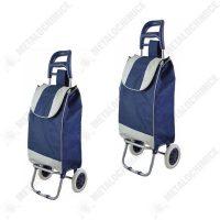 Pachet 2 bucati - Carut piata cu 2 roti Albastru, Carucior cumparaturi cu sac  din categoria Carucioare pentru piata