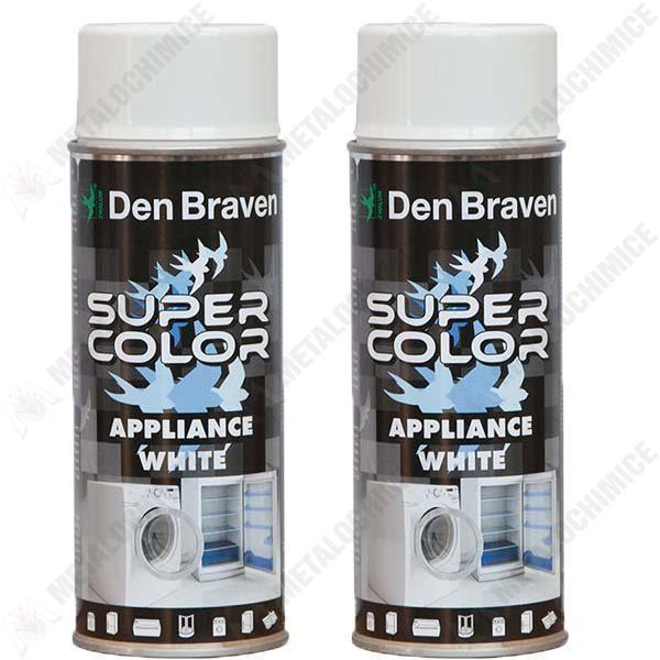 Pachet 2 bucati - Den Braven, Vopsea spray smalt pentru frigider, aragaz, masina de spalat, 2 x 400 ml