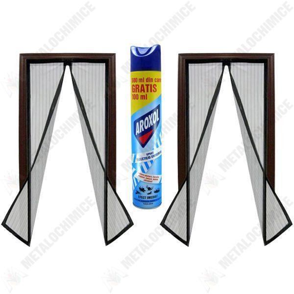 pachet-2-bucati-plasa-insecte-cu-inchidere-magnetica-la-mijloc-crem-prindere-cu-banda-dublu-adeziva-si-pioneze-190cm-x-100cm-aroxol-spray-insecticid-universal