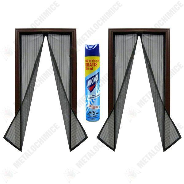 Pachet 2 bucati - Plasa pentru insecte, Cu magneti, Prindere prin banda dublu adeziva, pioneze, Neagra, 190cm x 100cm + Aroxol spray insecticid universal 500ml