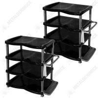 Pachet 2 bucati - Raft pantofi lux 4 etaje, gri-negru, Pantofar  din categoria Diverse mobilier