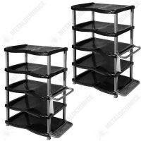 Pachet 2 bucati - Raft pantofi lux 5 etaje gri-negru, Rafturi incaltaminte  din categoria Diverse mobilier