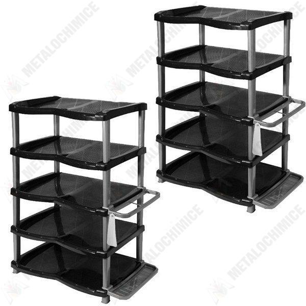 Pachet 2 bucati - Raft pantofi lux 5 etaje gri-negru, Rafturi incaltaminte