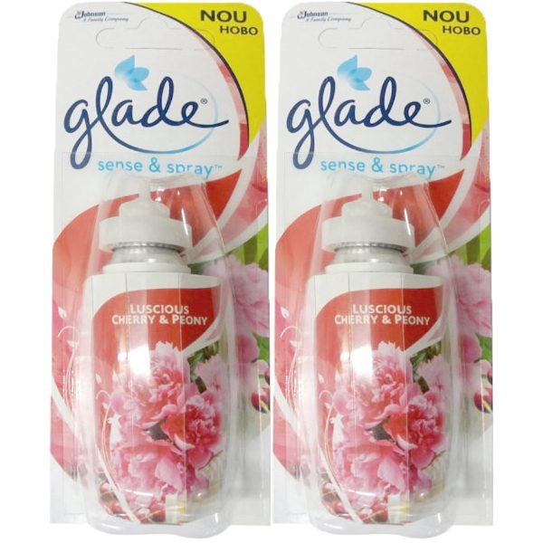 Pachet 2 bucati - Rezerva odorizant, Glade sense and spray, Luscious Cherry & Peony, 2 x 18ml
