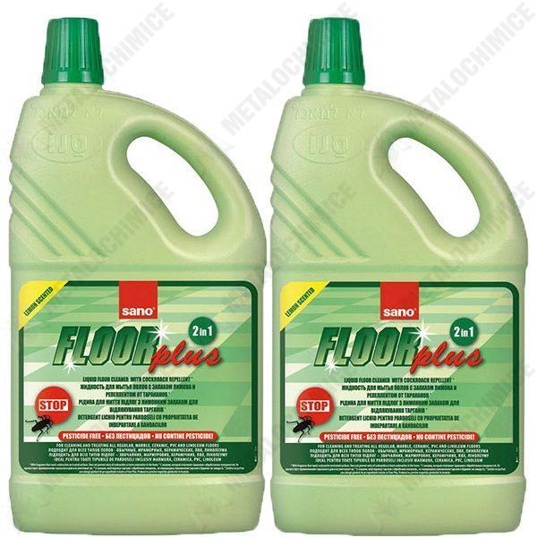 Pachet 2 bucati - Sano Floor Plus 2 in 1, Detergent lichid pentru pardoseli cu propietatea de indepartare a gandacilor, 2 x 2000ml