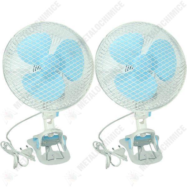 Pachet 2 bucati - Ventilator de birou cu prindere, 220 V, 2 trepte, Buton on/off, Alb-Turcoaz