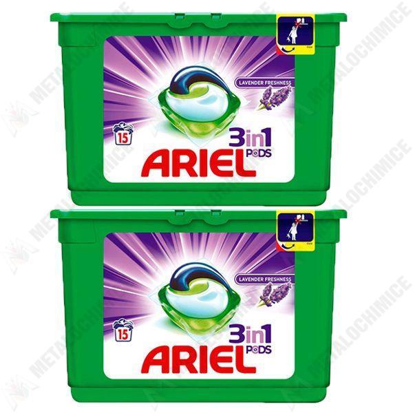 pachet 2 cutii ariel 3in1 capsule detergent rufe lavanda 405g 2 x 15buc cutie
