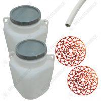 Pachet - 2 x Butoi plastic 50L patrat 2 x Presa rotunda x Teava de suflat / pitrocit