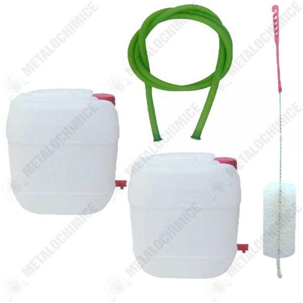 pachet 2 x canistra 30l din plastic alimentar cu robinet bidon cu maner si capac perie pentru spalat canistre furtun pentru tras vin 1 5m