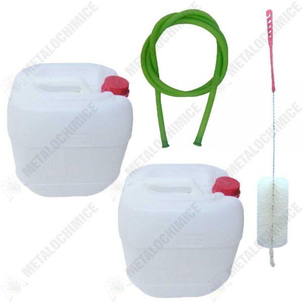 Pachet - 2 x Canistra 60L din plastic alimentar, Bidon cu maner si capac + Perie pentru spalat canistre + Furtun pentru tras vin 1.5m