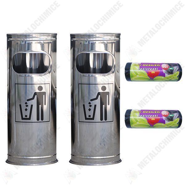 Pachet - 2 x Cos de gunoi, Din inox, Cu scrumiera, 24 cm + 2 x Saci menajeri, Pentru pubela 50 buc 60 L
