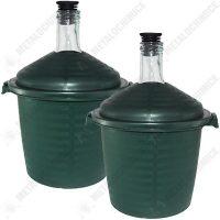 pachet 2 x damigeana 10l din sticla cu dop din cauciuc 10 25l in cos din plastic verde 2 x dop damigeana cu serpentina 2 x dop damigeana cu furtun 1 x perie damigeana 1 x palnie mare 1 5 2