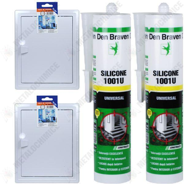Pachet - 2 x TE-MA, Usita de vizitare, 300 x 400 mm + 2 x Den Braven, Silicon universal alb, 1001U, 280 ml