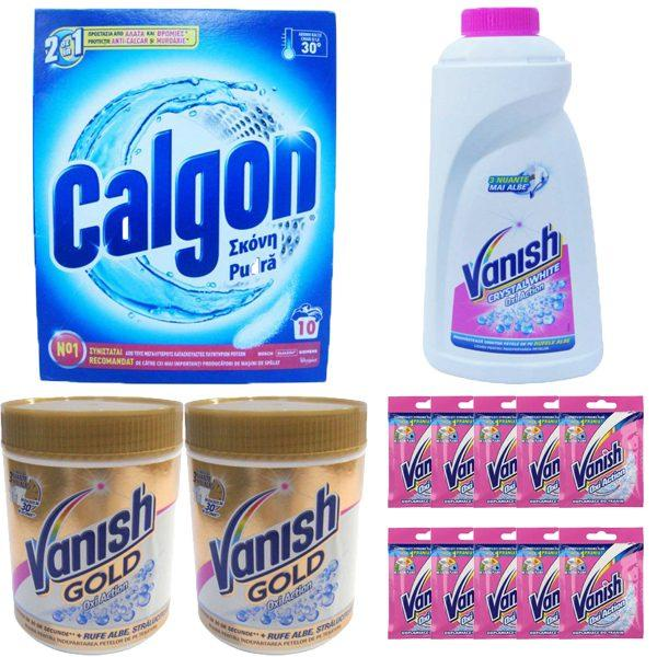 Pachet - 2 x Vanish Gold Oxi action, Praf / Pudra pentru albit, Haine albe, 423 g + 10 x Vanish praf 30 g + Vanish Oxi action, Haine albe, 1 L + Calgon anti-calcar pudra 500g