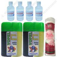 Pachet - 2 x Vopel Negru, Vopsea pentru piele si fixator + 4 x Acetona, Dizolvant, 50 ml Dischete curatare 70 buc.  din categoria Vopsele piele